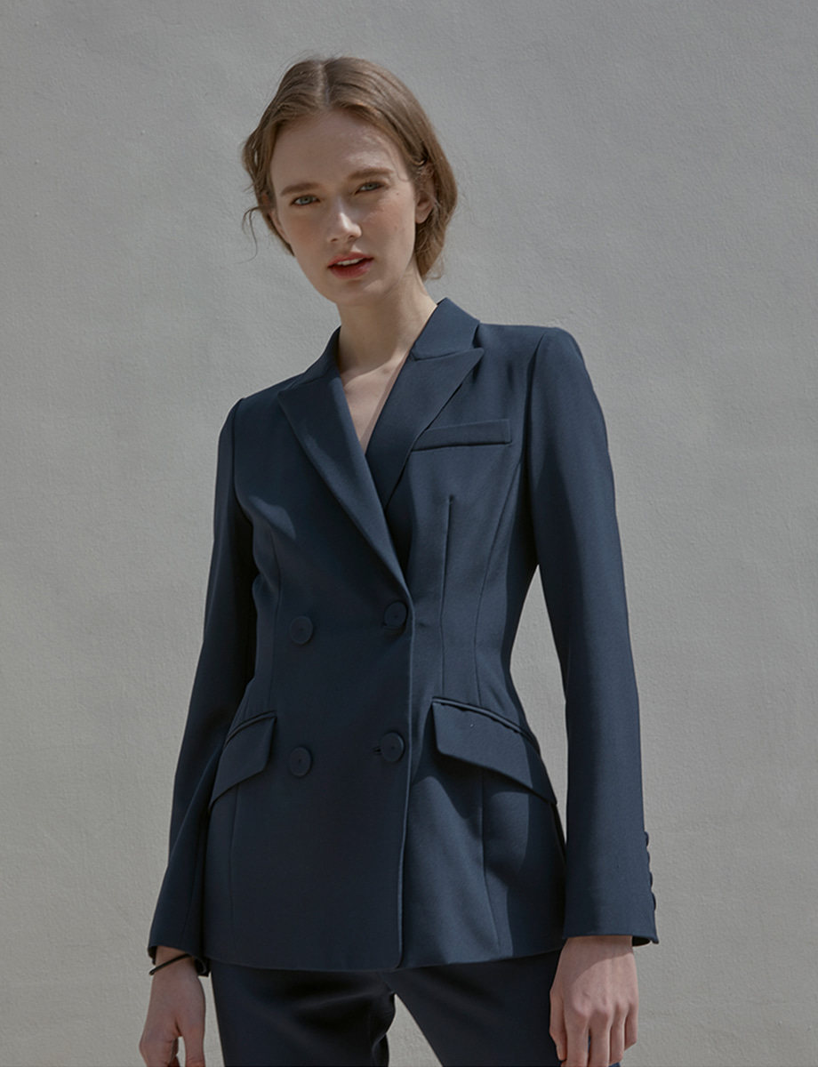 [ Navy ] SILK SUIT double button jk